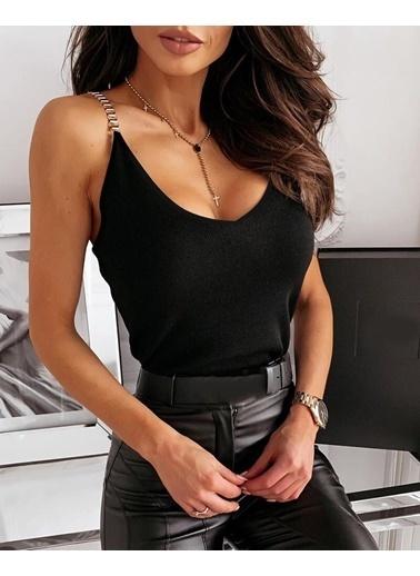 BLACK&GRACE Kadın Bej Spagetti Askılı Bluz Siyah